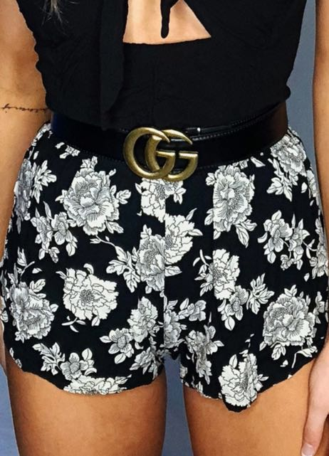 Brandy Melville Black And Tan Floral Shorts