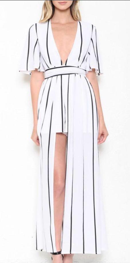 L'ATISTE Black And White Stripe Romper Dress