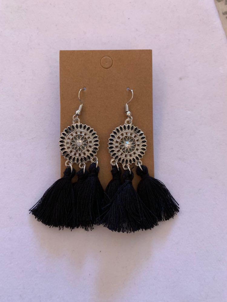 Black Boho Fringe Earrings