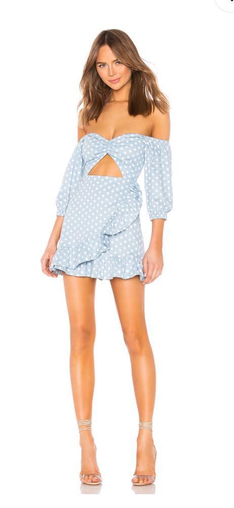 Revolve Michelle Dress in Baby Blue Dot