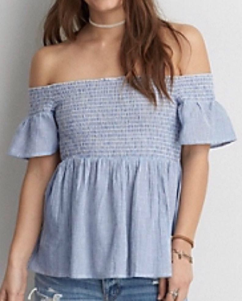 79275adec4c4 American Eagle Outfitters AEO Blue & White Stripe Off The Shoulder Top