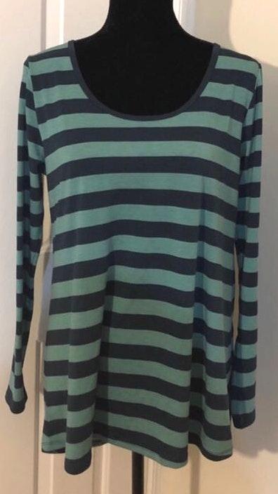 LuLaRoe EUC  Lynnae Navy & Green Stripes Sz L