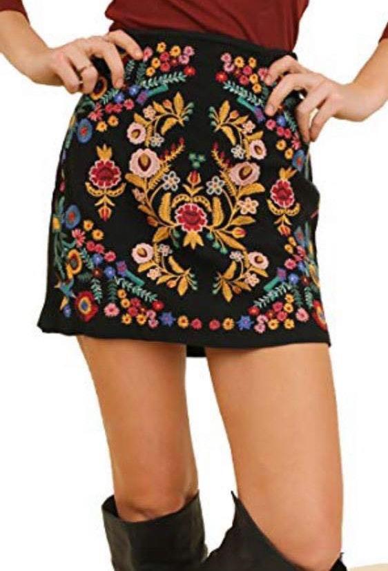 Umgee Embroidered Mini Skirt