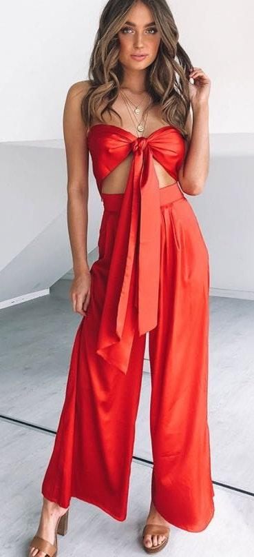 compare price official how to choose Beginning Boutique Two Piece Red Jumpsuit