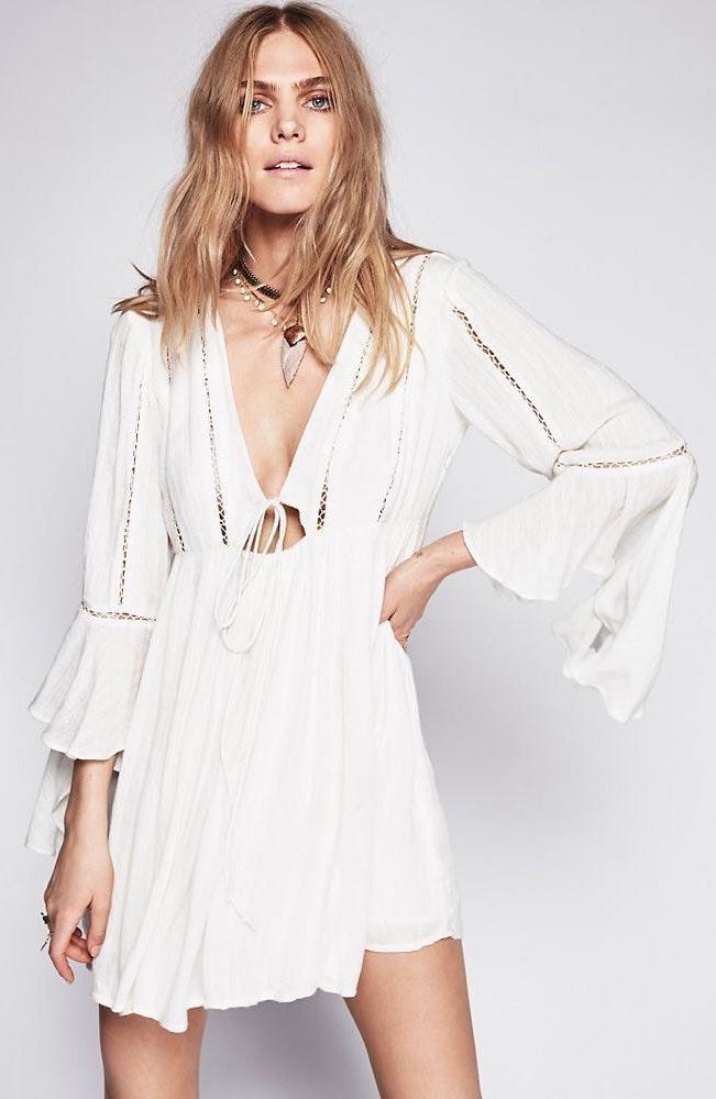 Free People White Long Sleeve Flowy Dress