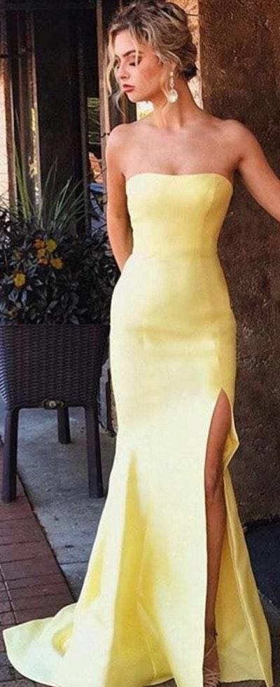 Modsele Elegant Yellow Mermaid Prom Dress