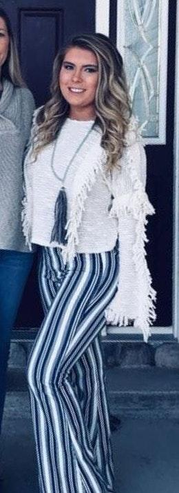 MISA Los Angeles Cream Fringe Sweater