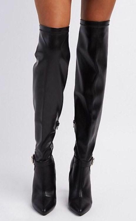 Qupid Sexy Black Faux Leather Over-The-Knee Boots