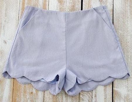 Impeccable Pig Misty Blue Scallop Shorts