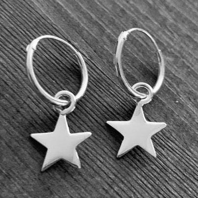 Small Sterling Silver Star Hoops earrings