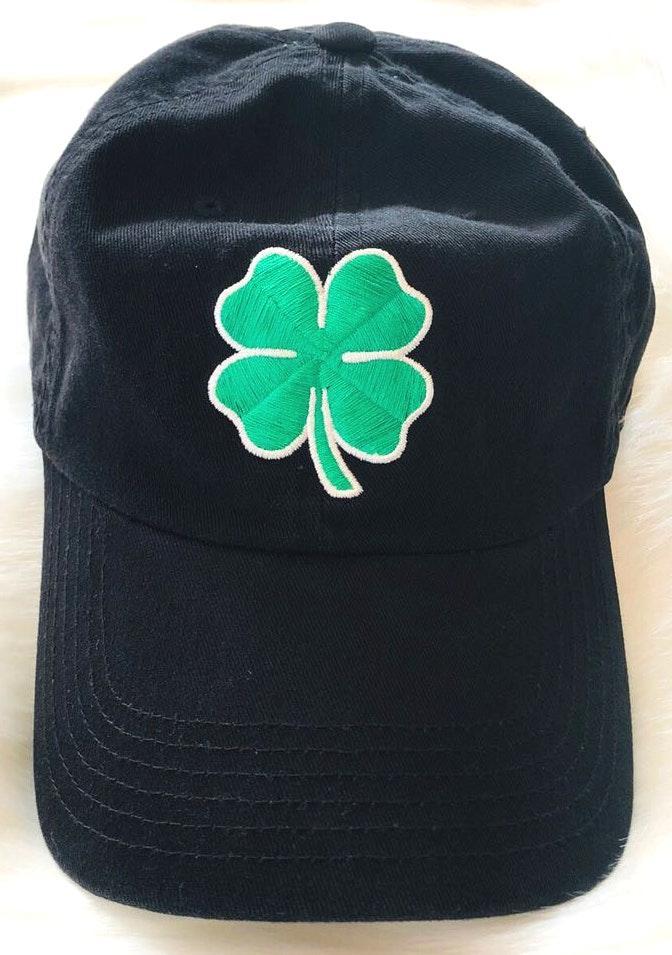 Mens Black Four Leaf Clover Hat