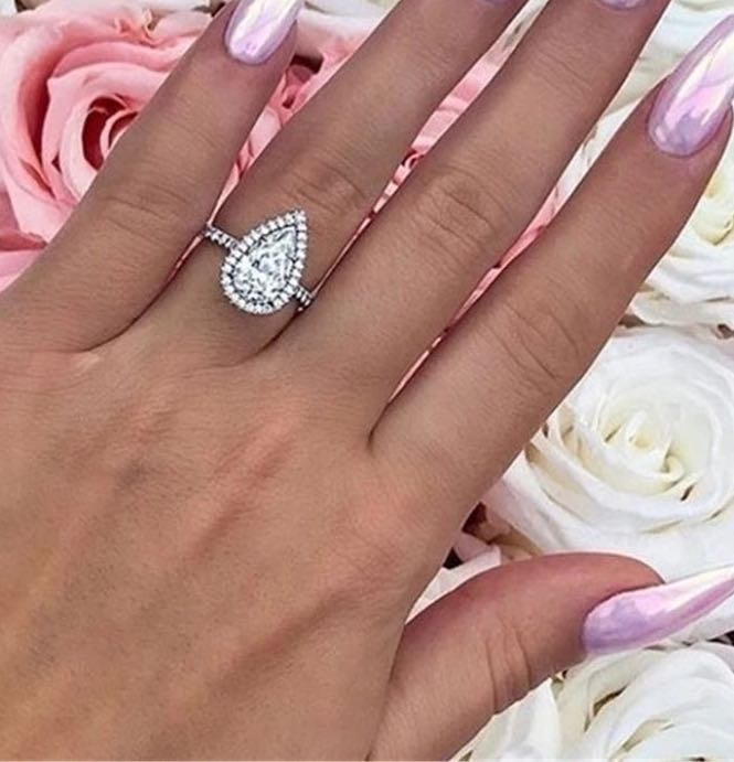 Australian Crystal Pear Shape Ring Dipped In White Gold...