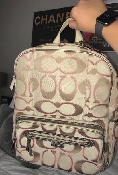 Coach Tan And Pink Backpack