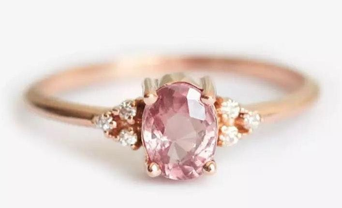 Australian Crystal Oval Stone Ring Dipped In RoseGold...