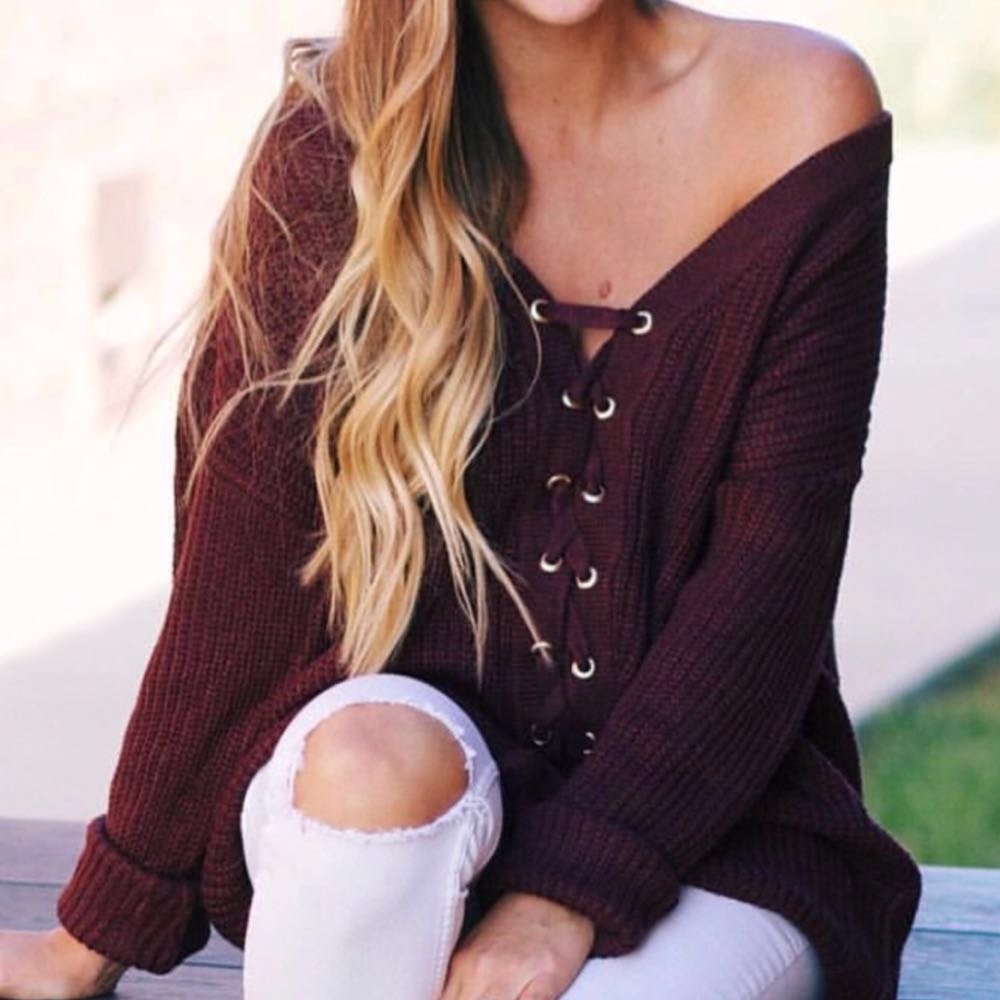 Front lace Burgundy Sweater