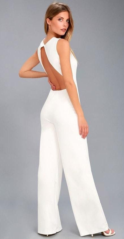Lulus White Open Back Jumpsuit