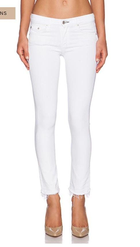 Rag & Bone White Skinny Jeans Distressed