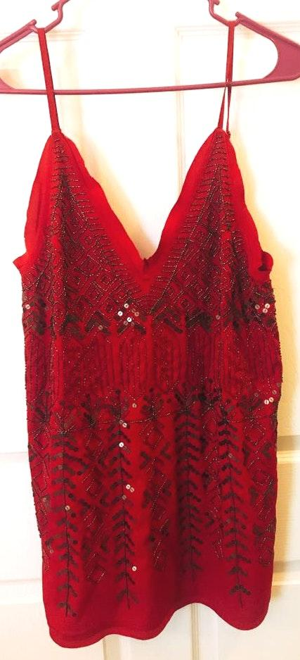 Free People Beaded Red Dress