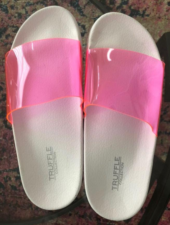 Nasty Gal Pink and White Slides