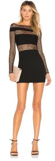 H:ours Black Lace Mini Dress