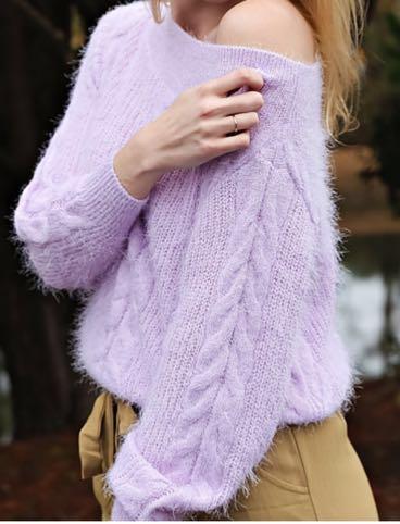 Amuse Society Lavender Fuzzy Sweater
