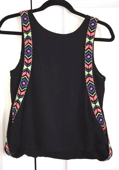 DO+BE Black and Colorful Stitched Tank