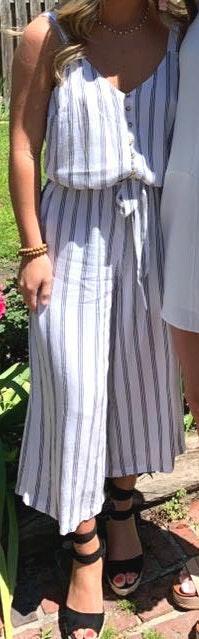 White/black Striped Jumpsuit