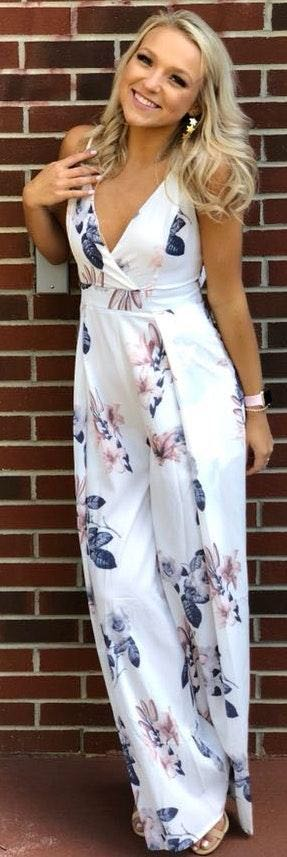 L'ATISTE Floral Tie Back Jumpsuit