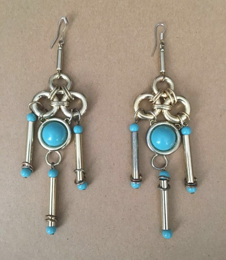 Fun turquoise and gold drop earrings