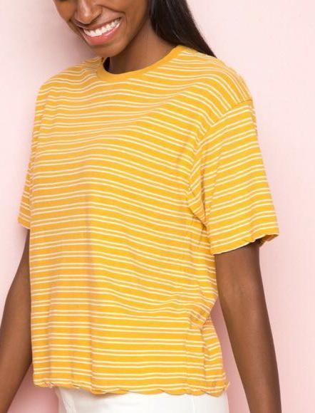 43f384d537e Brandy Melville rare white striped yellow aleena tee