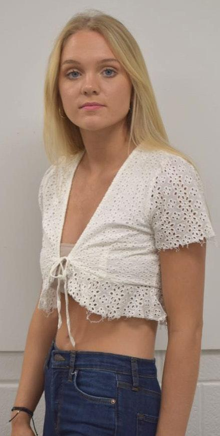 American Threads white embroidered eyelet crop top