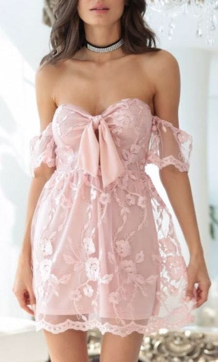 Lucy in the Sky Stella Lace Dress In Pink Floral