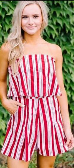 These Three Boutique Red/White Striped Strapless Romper