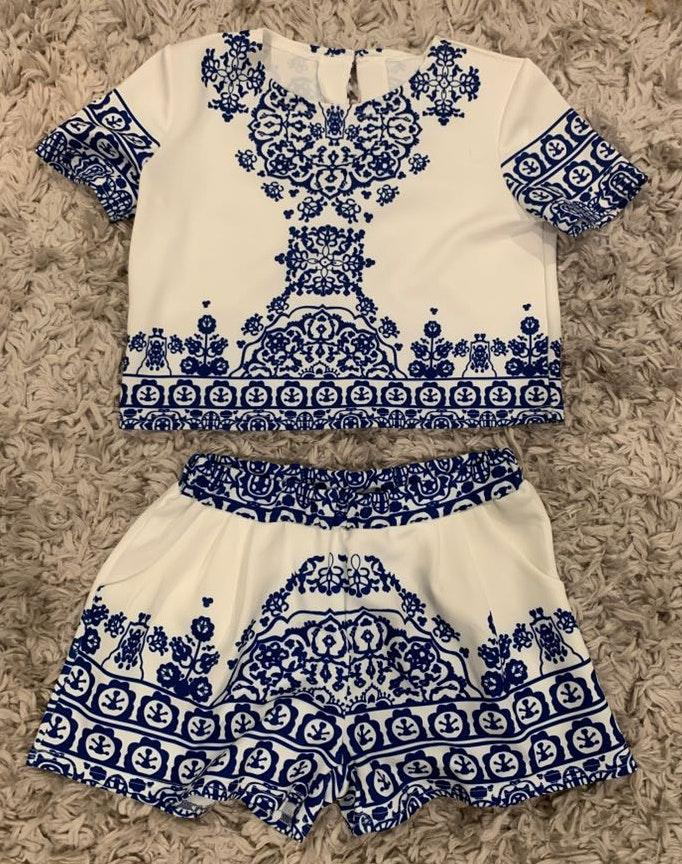 Patterned Blue And White Two Piece Set