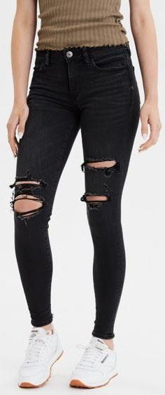 American Eagle Outfitters Faded Black Low Waisted Ripped Jeans
