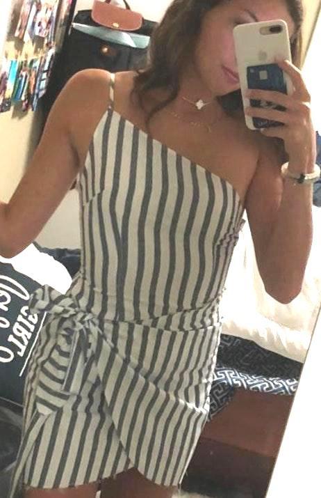 LF Gray And White Striped Wrap Dress