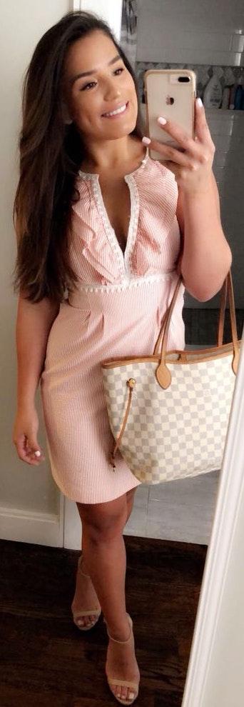 Nine West Light Pink Seersucker Dress