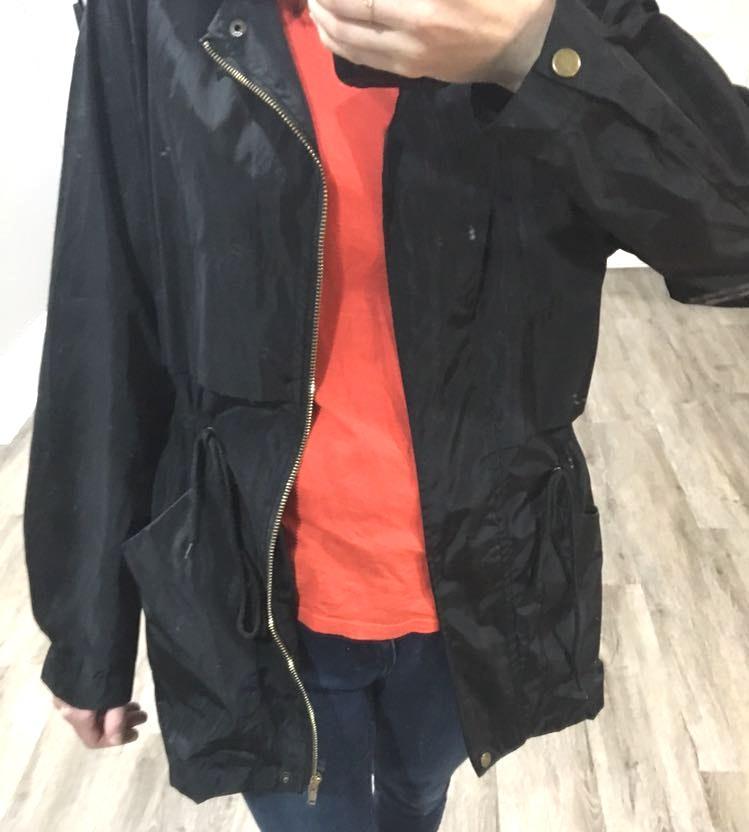 Black Hooded Anorak Rain Jacket