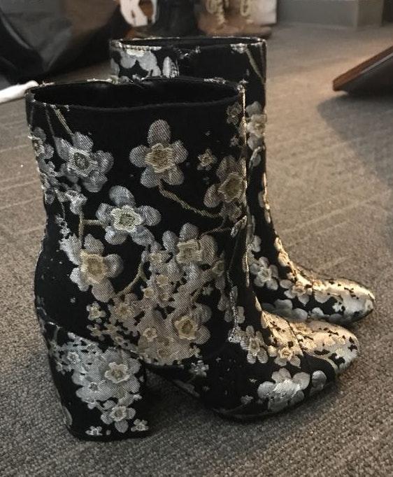 indigo. Black Heel Booties