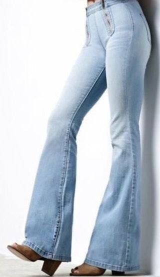 P.S.Erin Wasson Light Blue Flare Bellbottom Jeans
