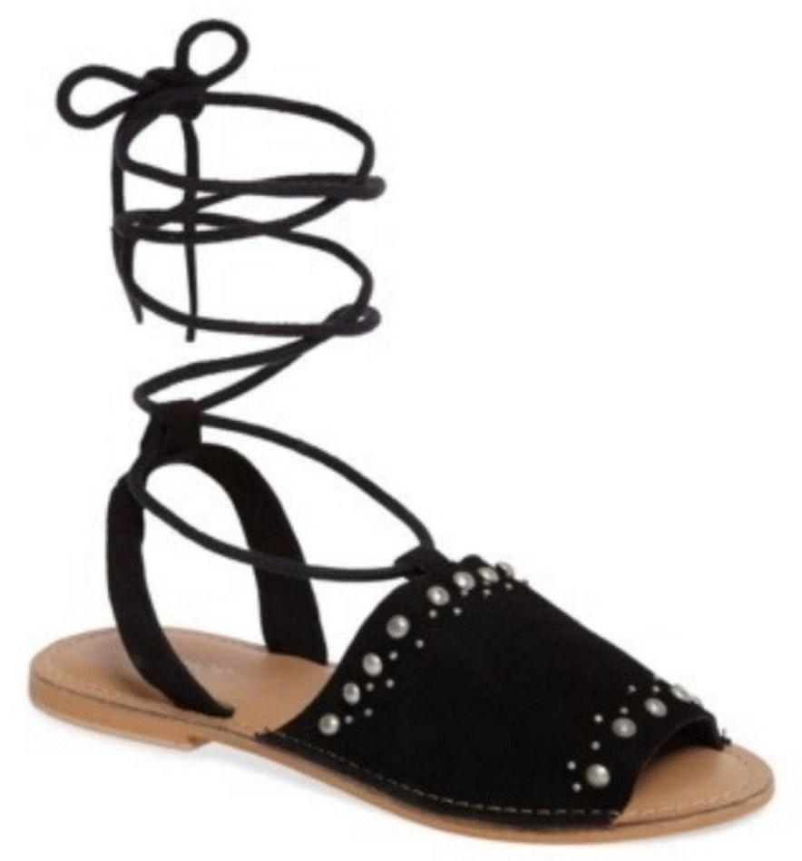 new arrival on wholesale purchase cheap Topshop Studded Black Lace Up Ankle Sandals