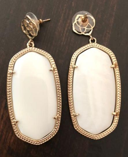 Kendra Scott White and Gold  Earrings
