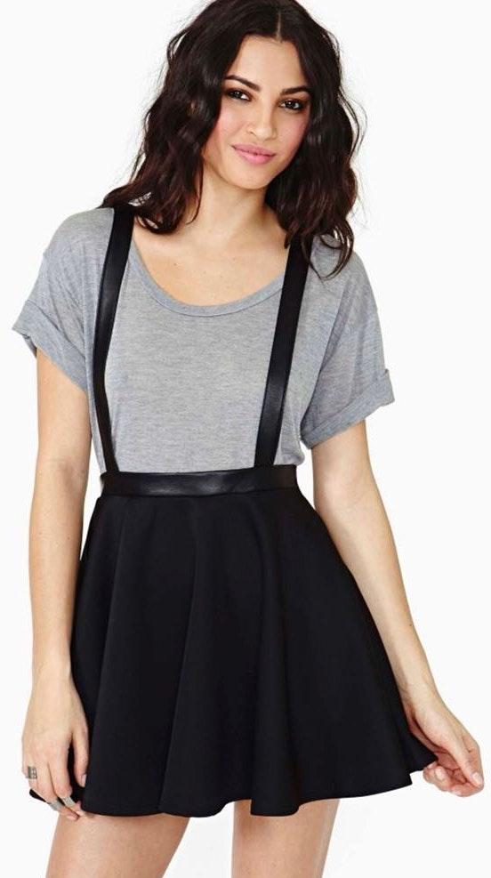 Nasty Gal Suspended Black Suspended Overall Skater Mini Skirt