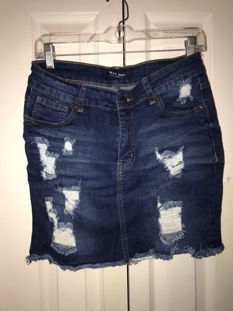 516eea7558 WAX Jean Los Angeles Ripped Denim Skirt | Curtsy
