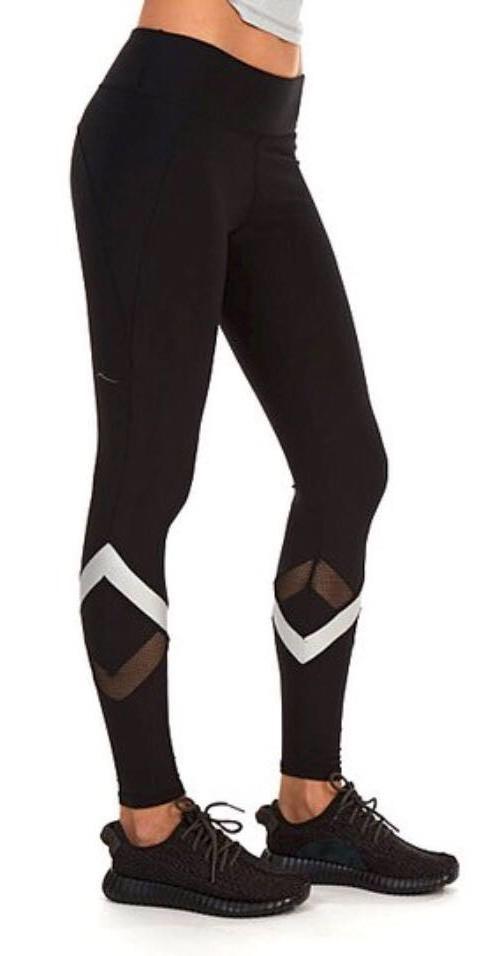 Black & Silver Full Length Leggings