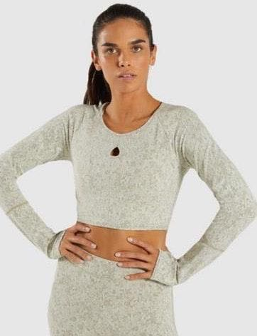 Gymshark Khaki Long Sleeve Fleur Crop Top