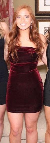Lucy in the Sky Red/ maroon velvet mini dress