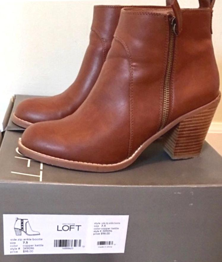 Loft Ann Taylor  Leather Camel Brown Short Booties