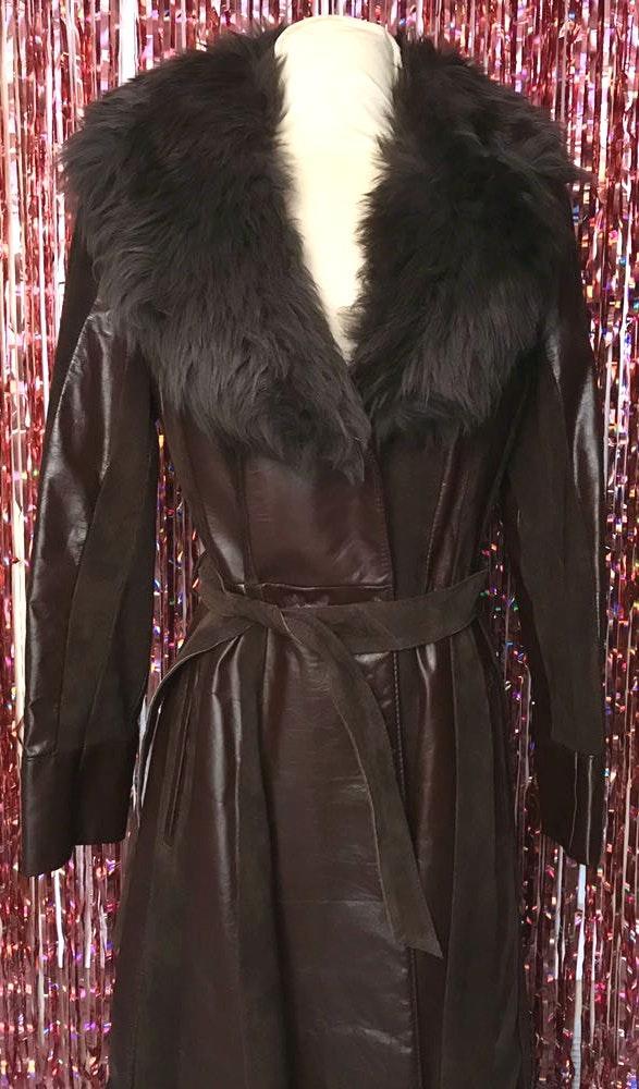American Vintage Vintage Penny Lane Leather & Faux Fur Coat Sz M/L