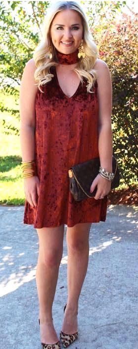 Show Me Your Mumu Rust Velvet Choker Neck Dress